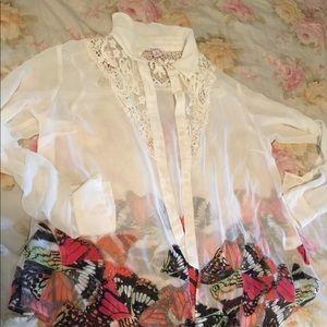 Butterfly, crochet, white button down